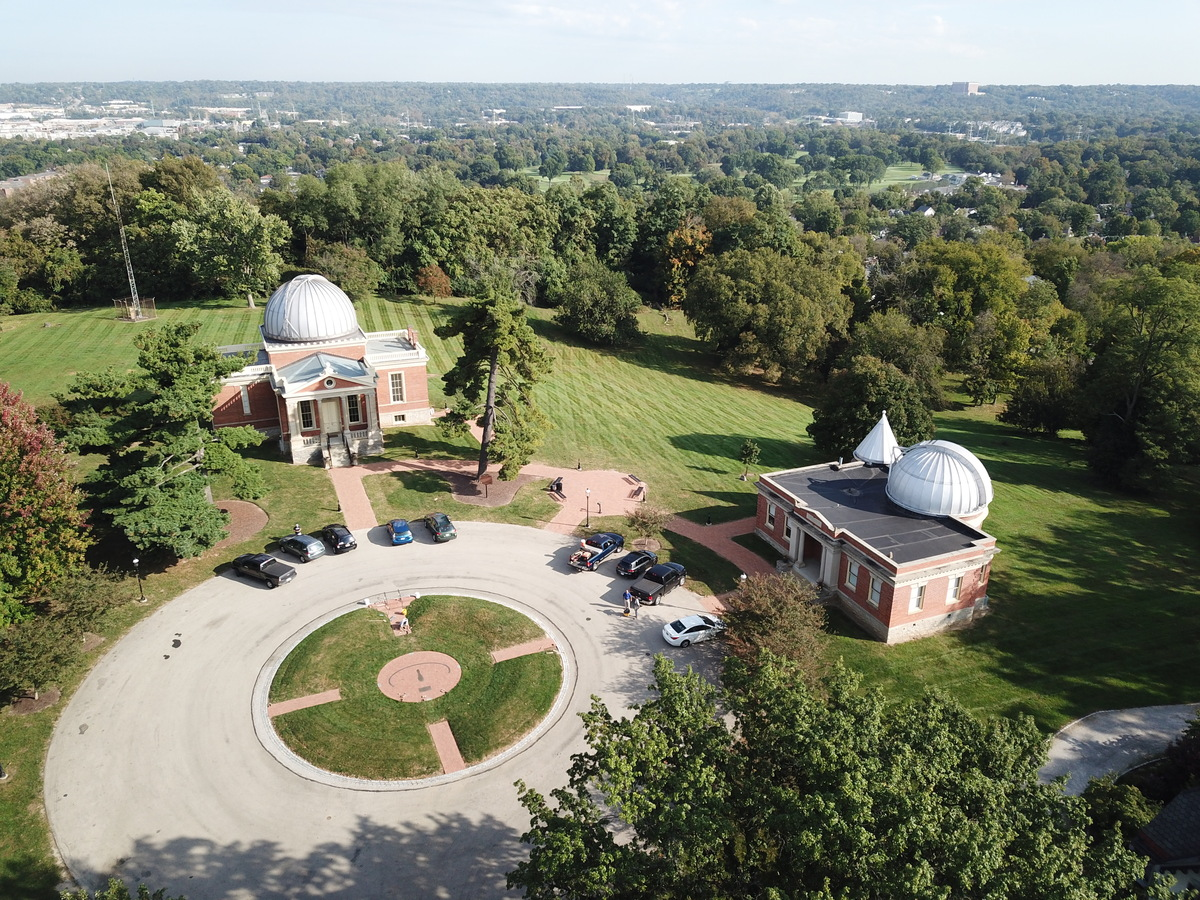 Aerial view of the two Cincinnati Observatory buildings